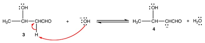 Step 4: Aldol 3 is an enolizable aldehyde. A small amount of it is  converted to the corresponding enolate ion (4) by the hydroxide ion.